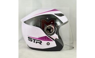 Ανοικτό Κράνος JET STR Άσπρο - Ροζ