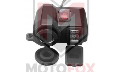 Φορτιστής Κινητού Τηλεφώνου Μοτο 3 σε 1, ΒΟΛΤΟΜΕΤΡΟ, Αναπτήρας και 2 Θύρες USB, με βάση για το Τιμόνι