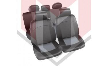 Κάλυμμα Σαλονιού Αυτοκινήτου (κομπλε Σετ μπροστά/πίσω) Χρώμα μαύρο/Red Σουέτ Eco δέρμα ( MMT A048 227800)